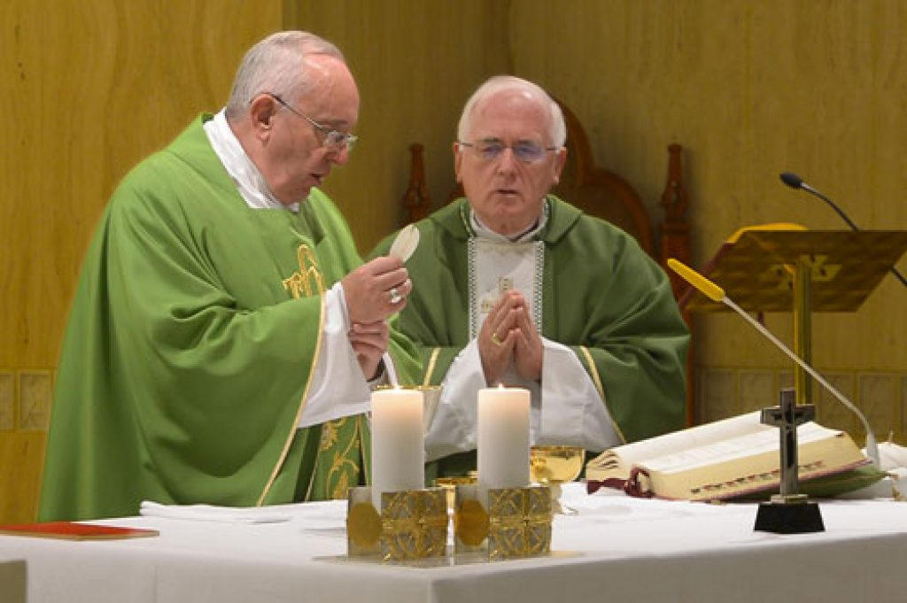 Archbishop Terrence Prendergast, SJ, celebrates Mass with Pope Francis.