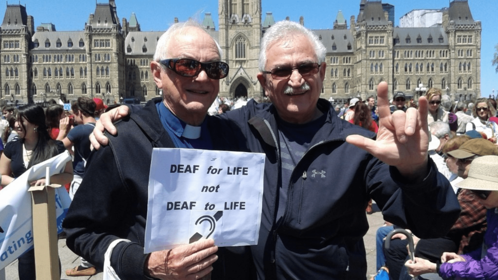 Fr. Monty attends the annual March for Life with members of the Deaf community, Parliament Hill, Ottawa